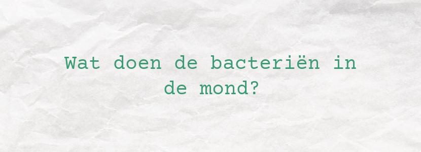Wat doen de bacteriën in de mond?
