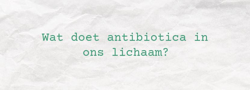 Wat doet antibiotica in ons lichaam?