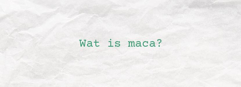 Wat is maca?