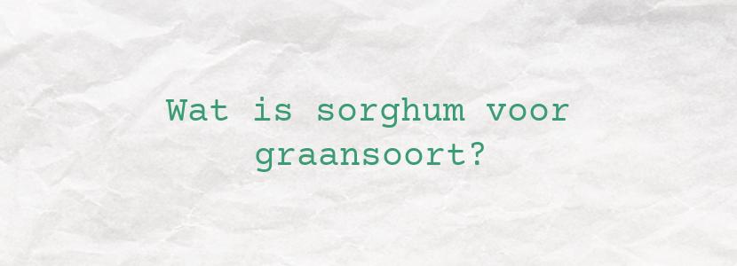 Wat is sorghum voor graansoort?