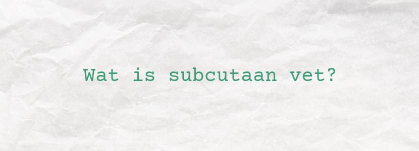Wat is subcutaan vet?
