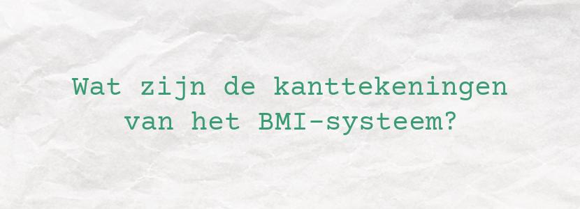 Wat zijn de kanttekeningen van het BMI-systeem?