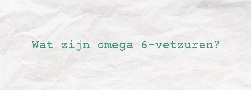Wat zijn omega 6-vetzuren?