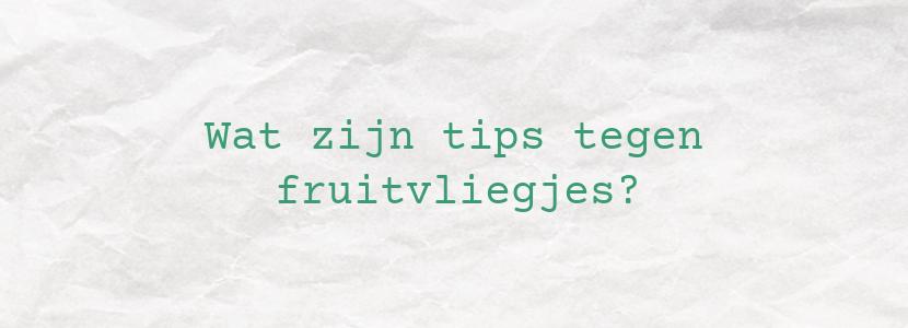 Wat zijn tips tegen fruitvliegjes?